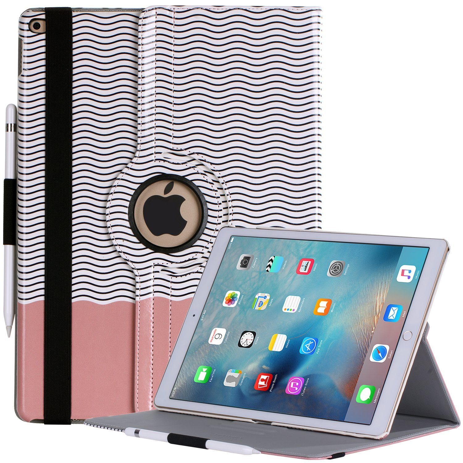iPad Pro 12.9 Case, BENTOBEN 360 Rotating Magnetic Smart Cover Apple Pencil Holder Auto Sleep and Wake Up Premium Faux Leather with Kickstand [Patented Pattern] Case for iPad Pro 12.9 inch Retina