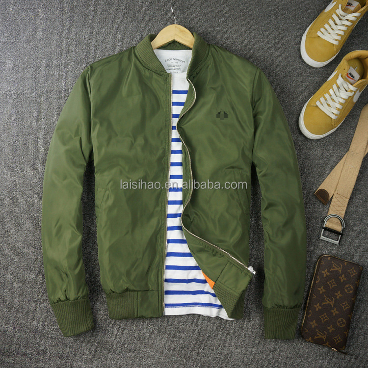 Plain Bomber Flight Jacket For Men With Quilted Lining - Buy ...