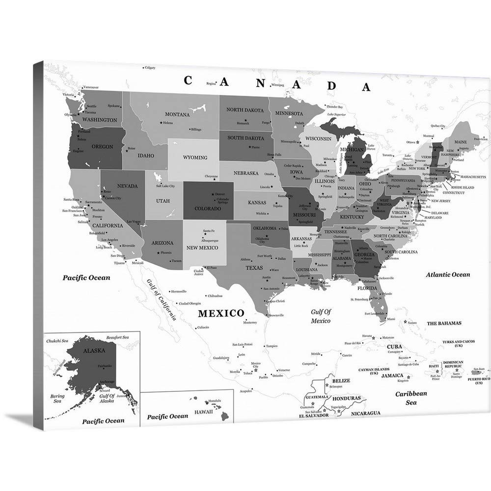 "GREATBIGCANVAS Gallery-Wrapped Canvas Entitled US Map - Black and White, Classic Text by Inner Circle 60""x45"""