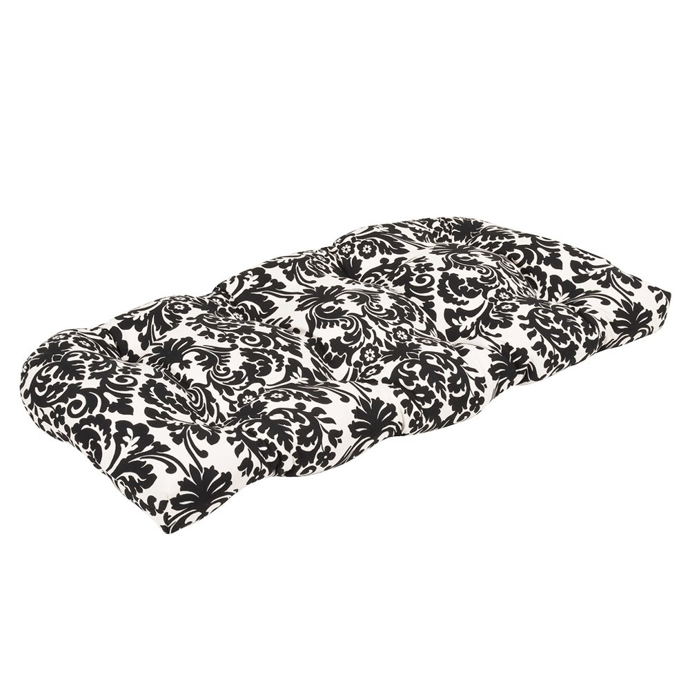 Pillow Perfect Indoor/Outdoor Black/Beige Damask Wicker Loveseat Cushion