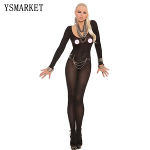 Nightwear for women Foxy Babe Opaque Long Sleeve Open Crotch Bodystocking Sexy Women Crotchless Body Stocking Lingerie Bodysuit