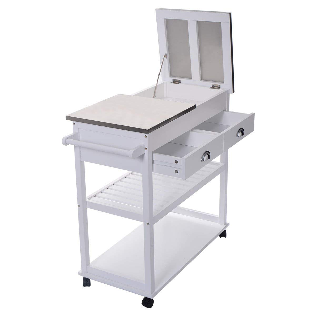 "34.2"" White Rolling Kitchen Stainless Steel-Flip Top Cart Trolley w/ 2 Shelves"