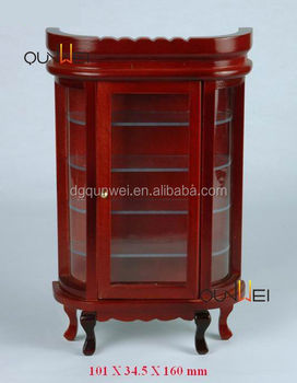 Dollhouse Miniature Furnitures Wooden Cabinet Display With Clear Windows Qw60044