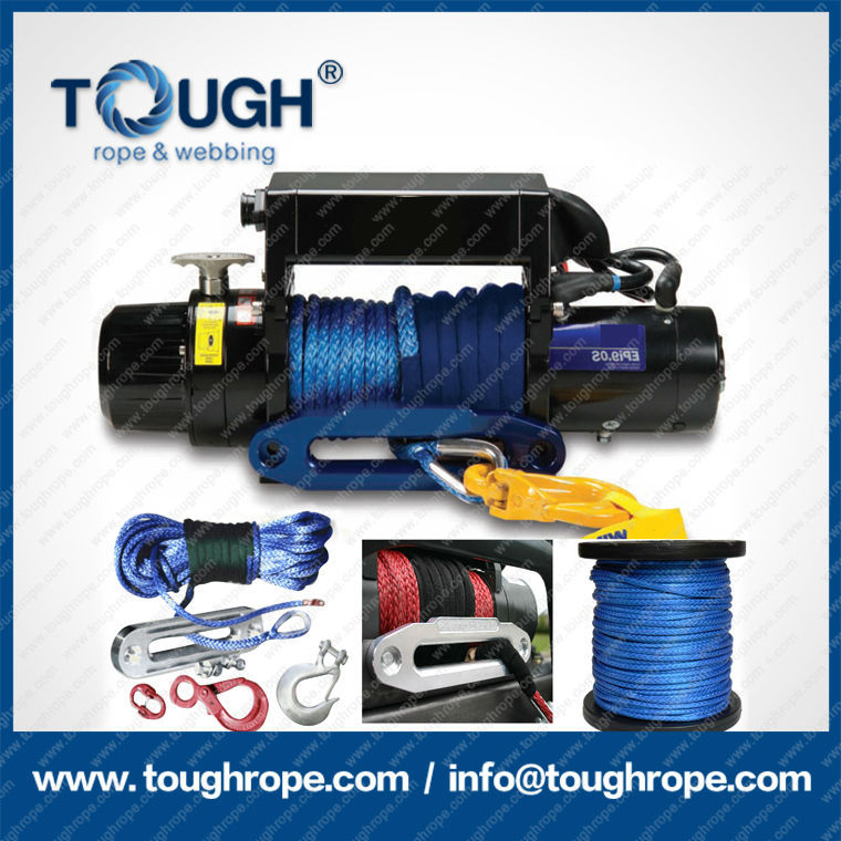 tr-18 synthetic 4x4 winch rope with hook thimble sleeve packed as full set for Truck winch