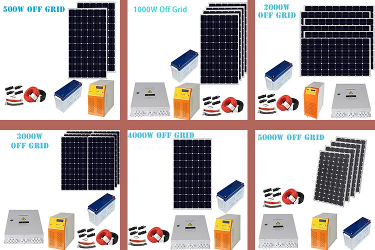Painéis solares Preço 1000W/2000W 3000W 5000W Sistema de Painel de Energia Solar