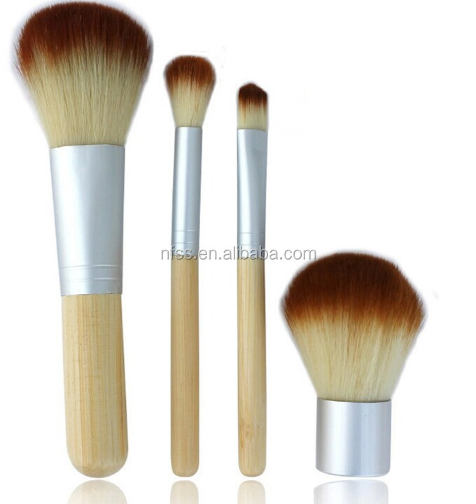 Eco Pro 4 Piece Makeup brush Kabuki Powder Eye Shadow Smudge Brush With Cotton Pouch