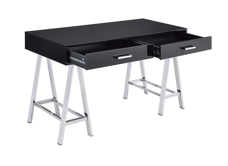 Major-Q Modern Home Office Furniture High Gloss & Chrome Black Desk (7092227)