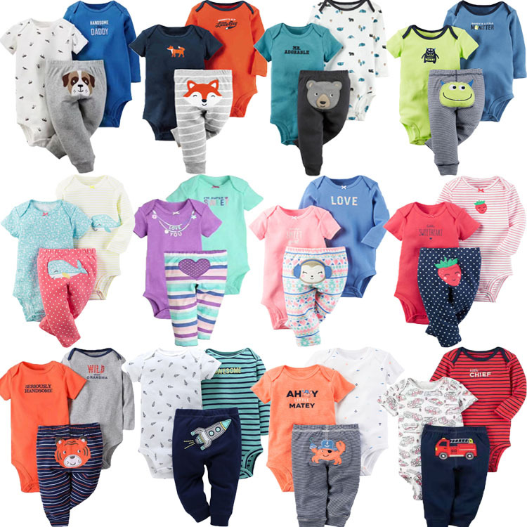 cartoon design 3 pcs baby short sleeve bodysuits matching with long romper and pants