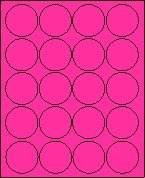 """2"""" Round Fluorescent Pink Labels for Laser Printers, Inkjet Printers or Copier Machines. (GLC200FP)"""