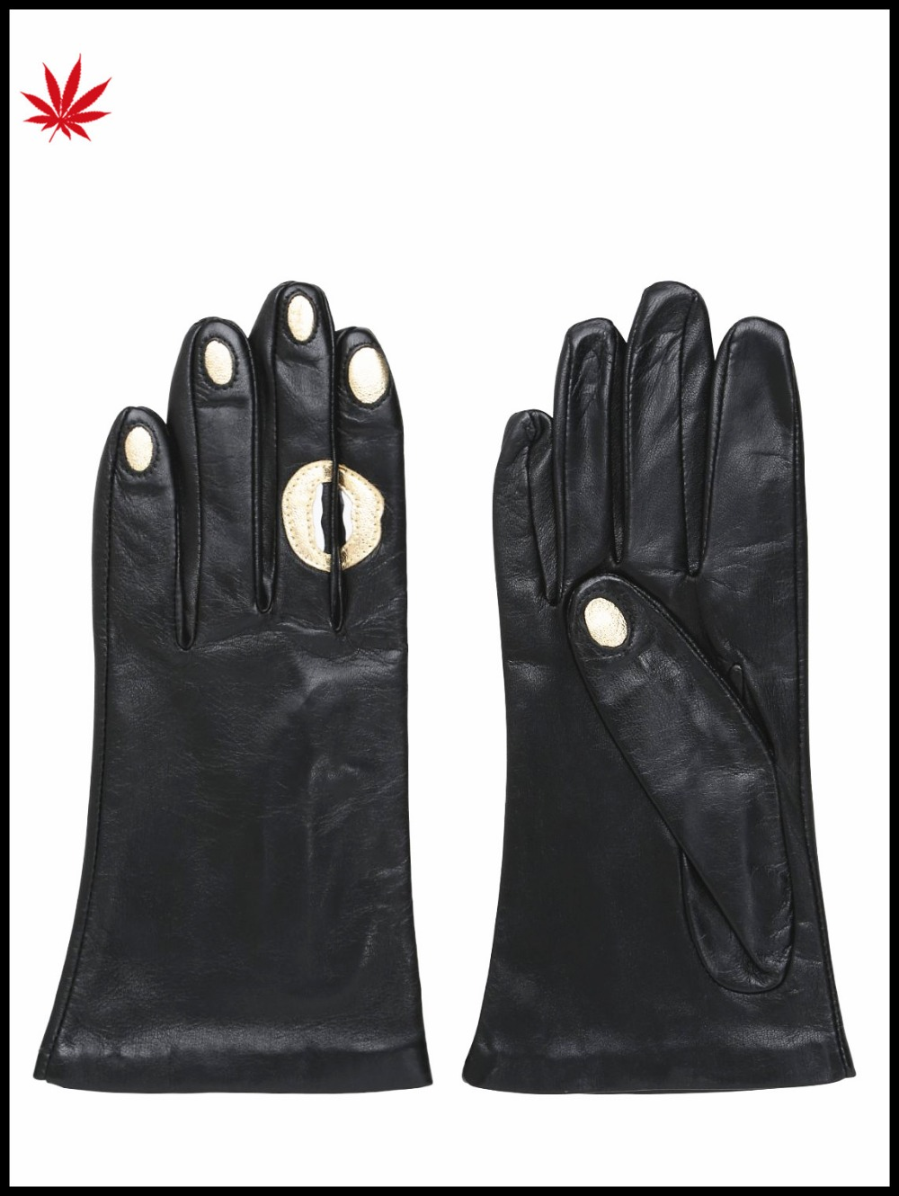 women winter leather gloves with red lip nails