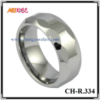 Puzzle faceted tungsten ring high polished white gold wedding finger nail ring