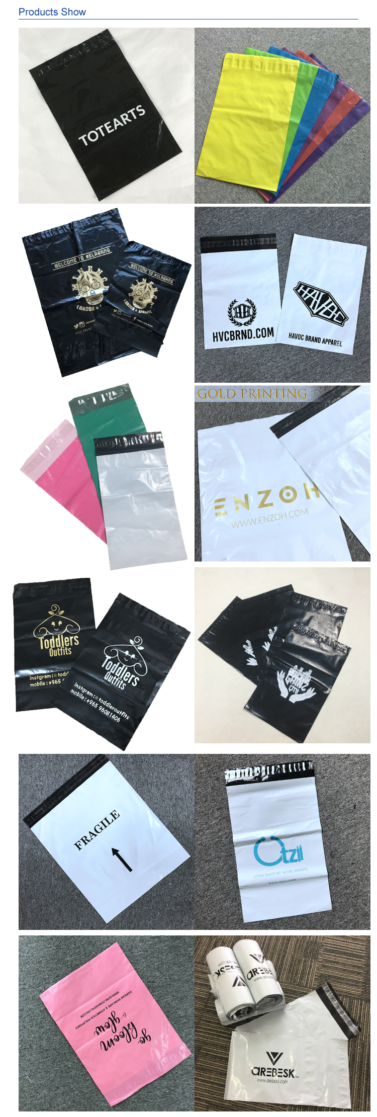 custom logo biodegradable printed plastic express poly mailers bags