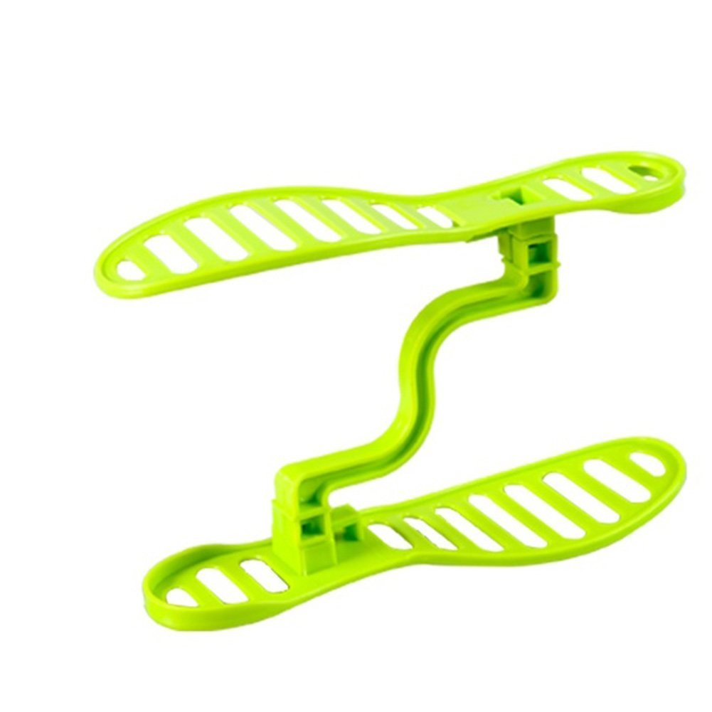 Double Layers Shoes Rack Plastic Shoes Organizer Shoe Stacker Holder For Living Room Using Save Space Storage (Green)
