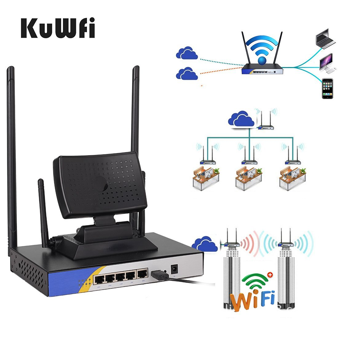 KuWFi Metal case 300mbps High Power Wireless Router with USB Port with USB interface.Specilized for wifi usb adapter,free wifi usb adapter to computer repeat longer distance wifi signal