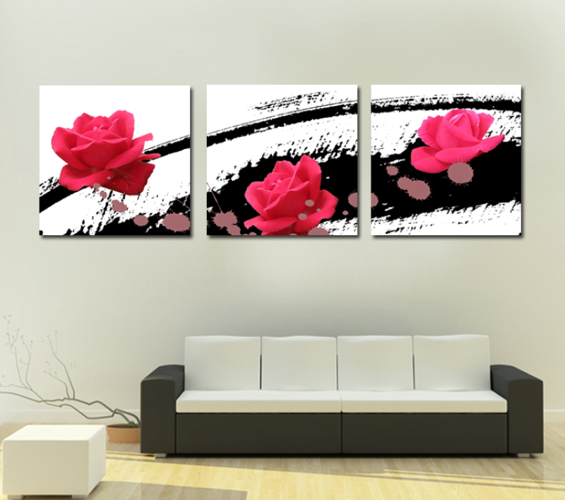 Free ship 3 Pcs loving heart rose Wall Art Picture Modern Home Decor Living Room Canvas Print Painting Wall picture SZ-O-067