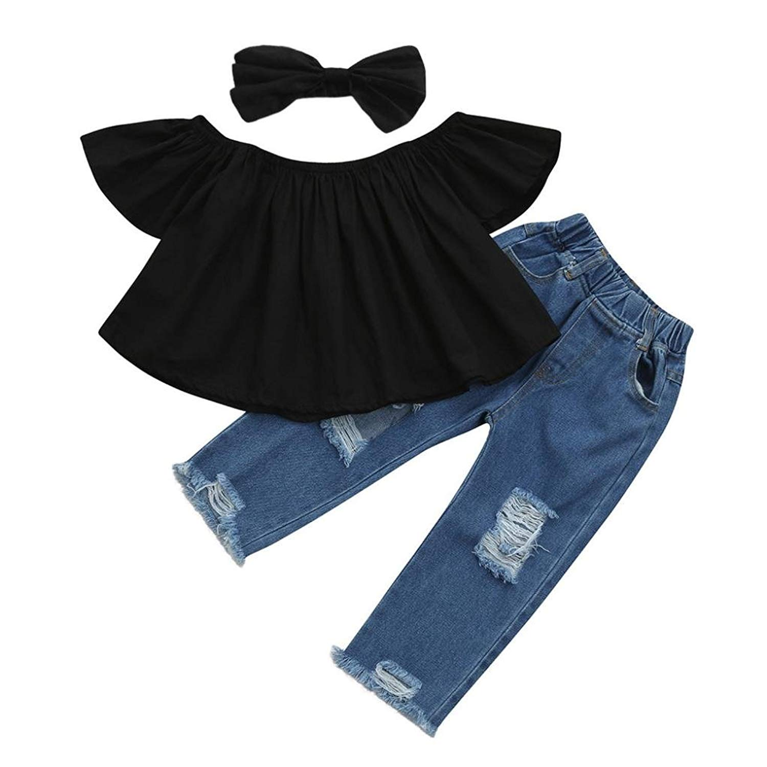 9b588b24a03 Get Quotations · Anboo New Fashion Baby Off shoulder Crop Tops + Hole Denim  Pant Jean Headband Toddler Kids