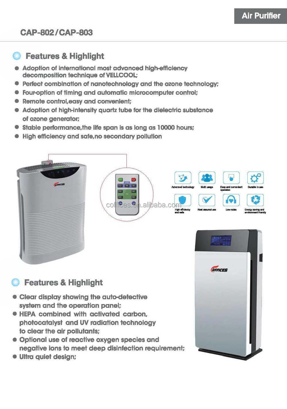 Electrostatic Hepa Uv Photocatalyst Pm2.5 Filter Air Purifier ...