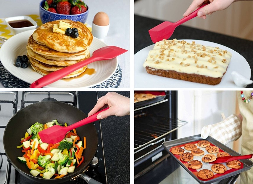 Amazon Hot Selling 4 Pieces Kitchen BPA Free Baking Silicone Spatula Set