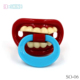 plastic red mouth design silicone liquid pacifier musical pacifier