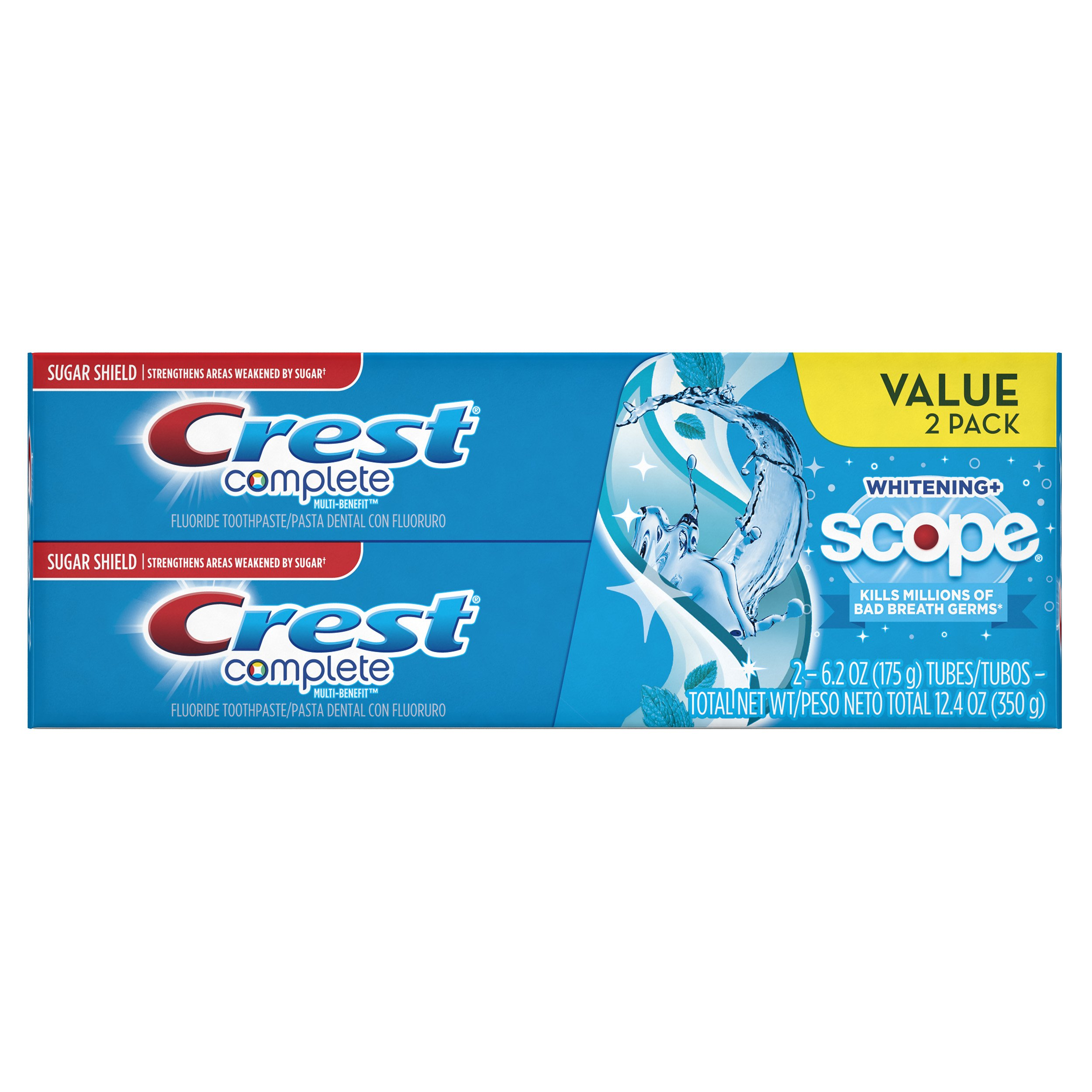 Crest Complete Multi-Benefit Whitening + Scope Toothpaste, Peppermint Flavor - 6.2 Oz Ea, 2 Count