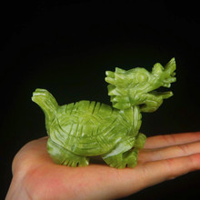 Green Jade Dragon Turtle Statue For Decoration