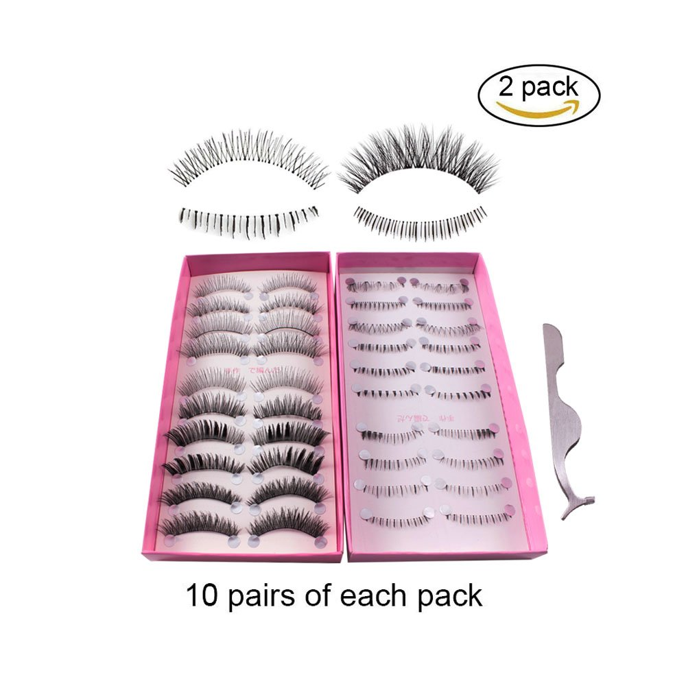 2ac74819392 Get Quotations · Teenitor Anime Eyelashes, 20 Pair 20 Desgin Japanese  Cosplay Eyelash Fake False Upper Lower Eyelash