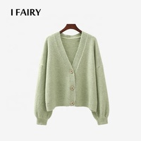 Women's Sweet Button Coat Drop Shoulder Sleeve V Neck Textured Cropped Cardigan