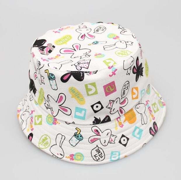 5bef2d53287 wholesale popular kids summer caps print bucket hats