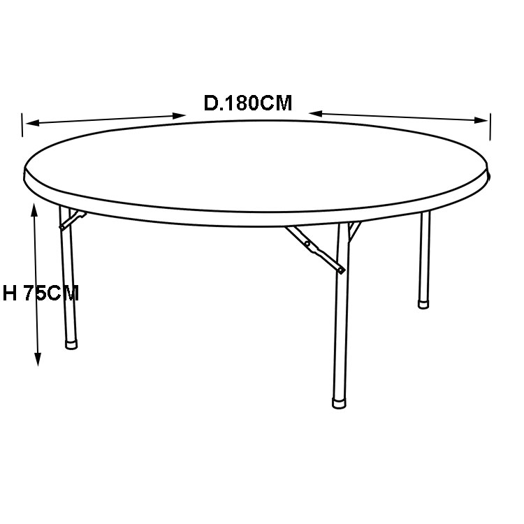 6 Foot Round Folding Tables and Chairs used for Restaurants, 12 Seater Dining Table