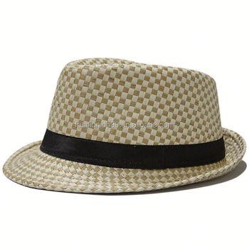 59a513e8b4790 Personalized promtional custom logo band fedora trilby hat Panama Men Straw  Fedora Hat
