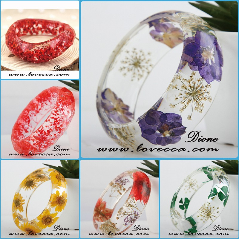 Hot sale deisgn resin bangle custom beautiful pressed dried real flower bangle