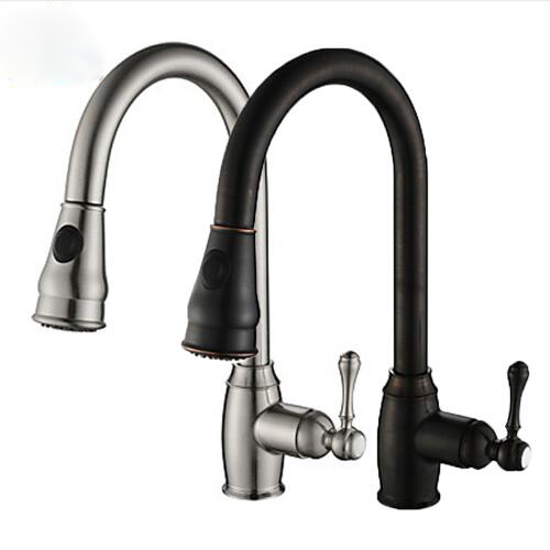 Nichel spazzolato Vapore e Spray Becco Single Handle Pull Out & Pull Down Polverizzatori Kitchen Sink Faucet Mixer Tap