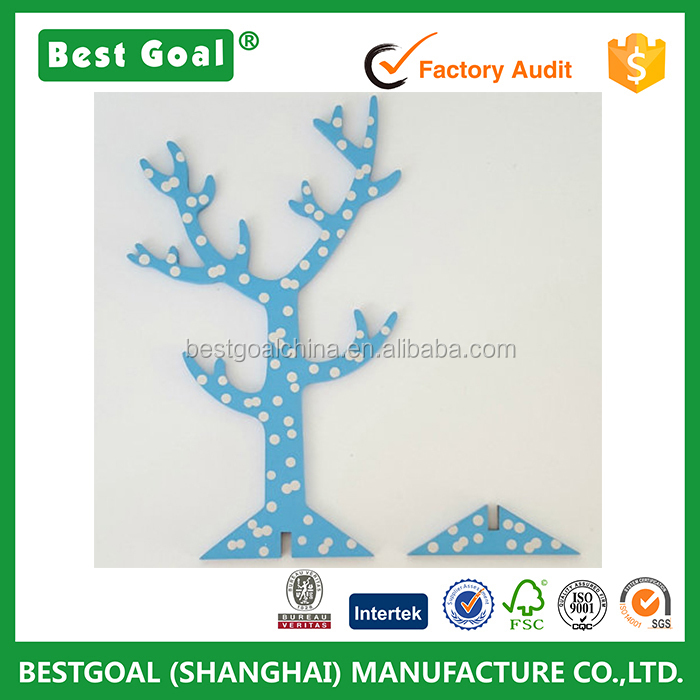 best selling wood earing tree shape jewelry display stands custom wood jewellery tree