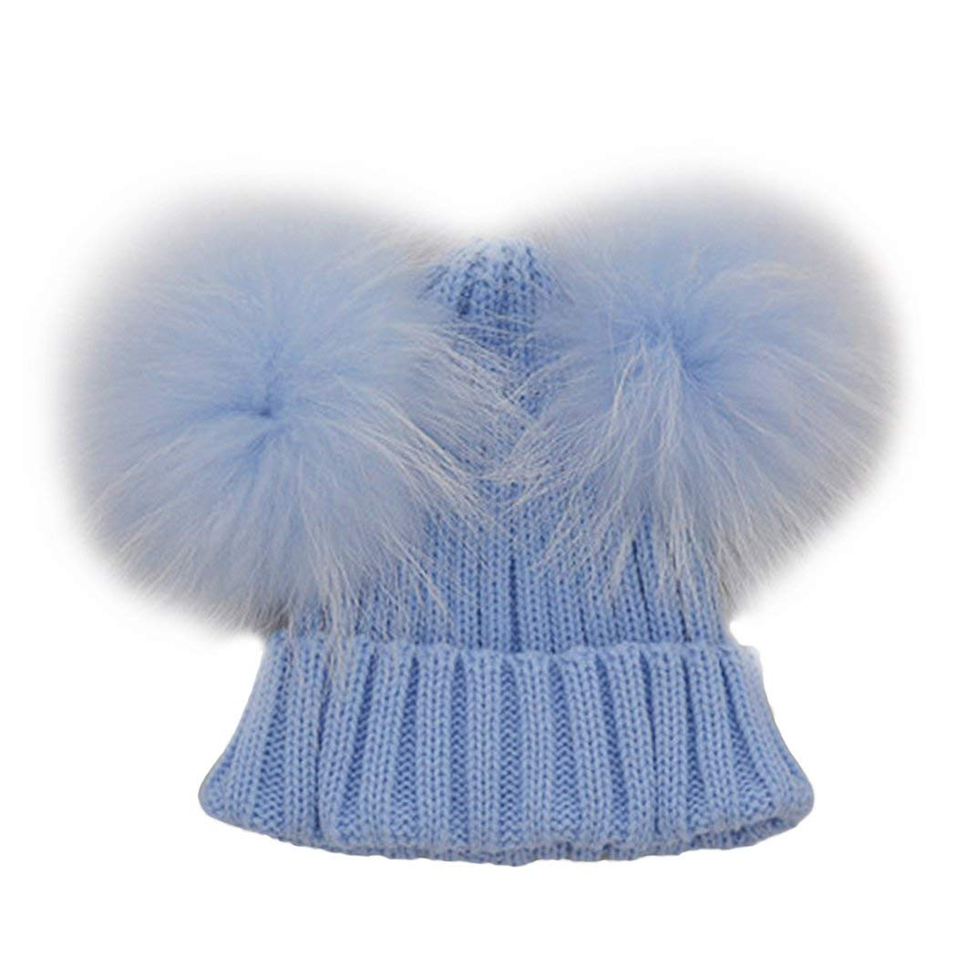 f8ec5eb3127 Get Quotations · MIOIM Baby Boys Girls Winter Beanie Wool Knit Hat Raccoon  Fur Double Big Ball Pompom Bobble