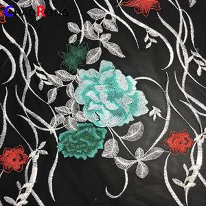 CRF0117 2018 hot sale new multi colour embroidery 100% polyester indian bridal blue lace fabric