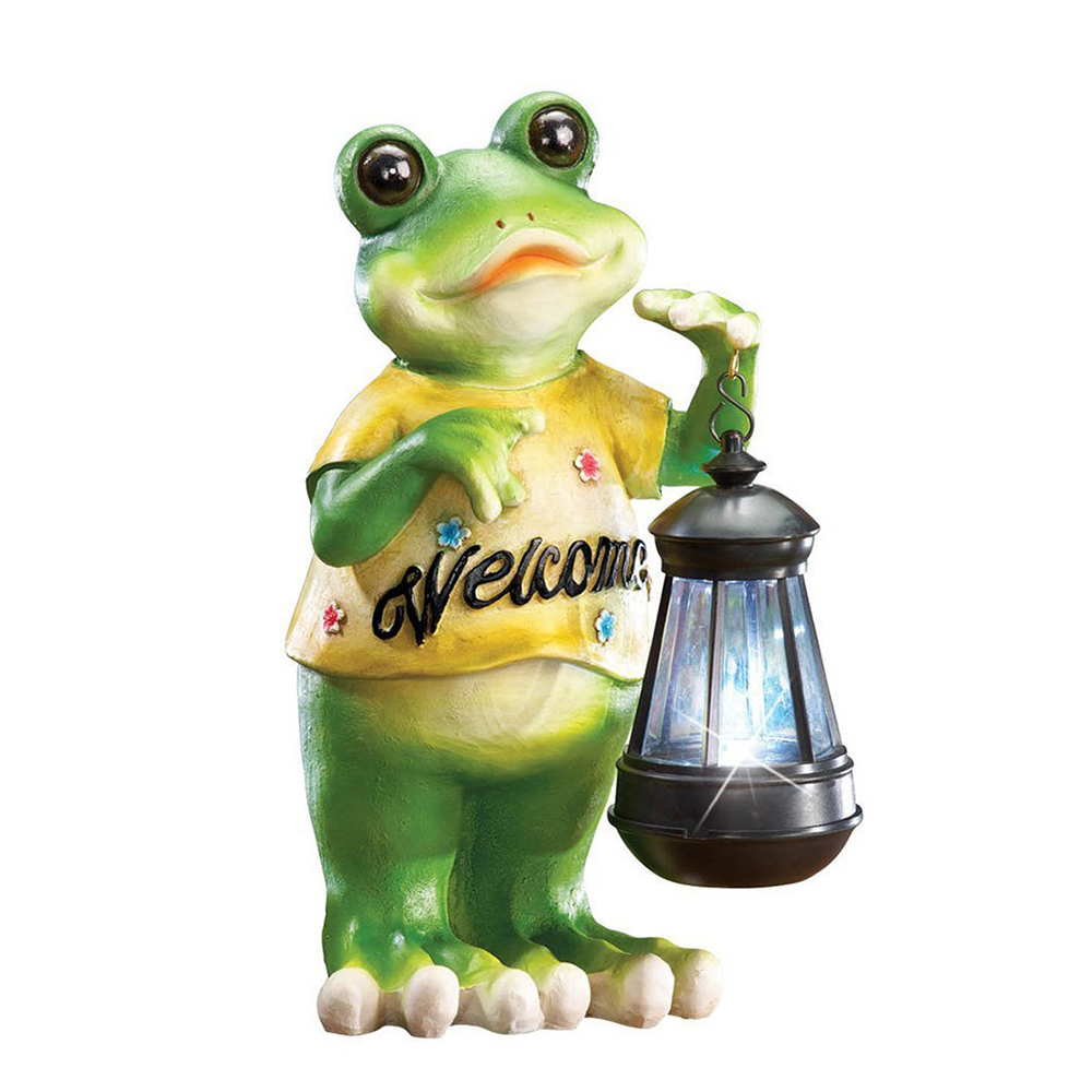 Wholesale Resin Hand-Painted Frog Statue with Lantern Light and Welcome Sign