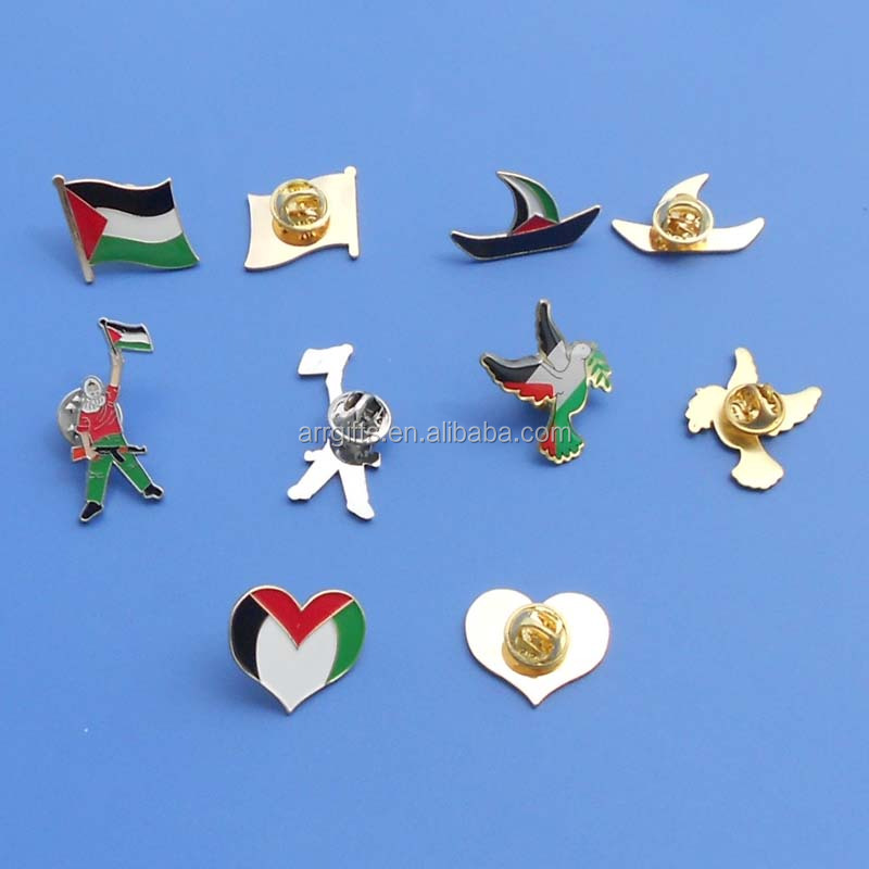 Palestine pin badge cut shape 1 inch lapel pin soft enamel pin with thick epoxy coated
