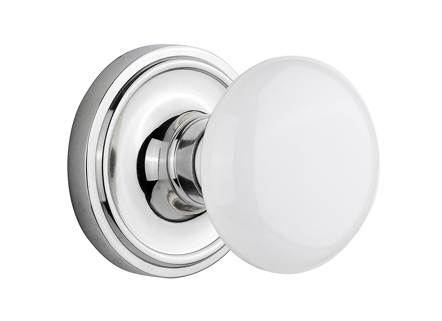 "Nostalgic Warehouse Classic Rosette with White Porcelain Door Knob, Privacy - 2.375"", Bright Chrome"