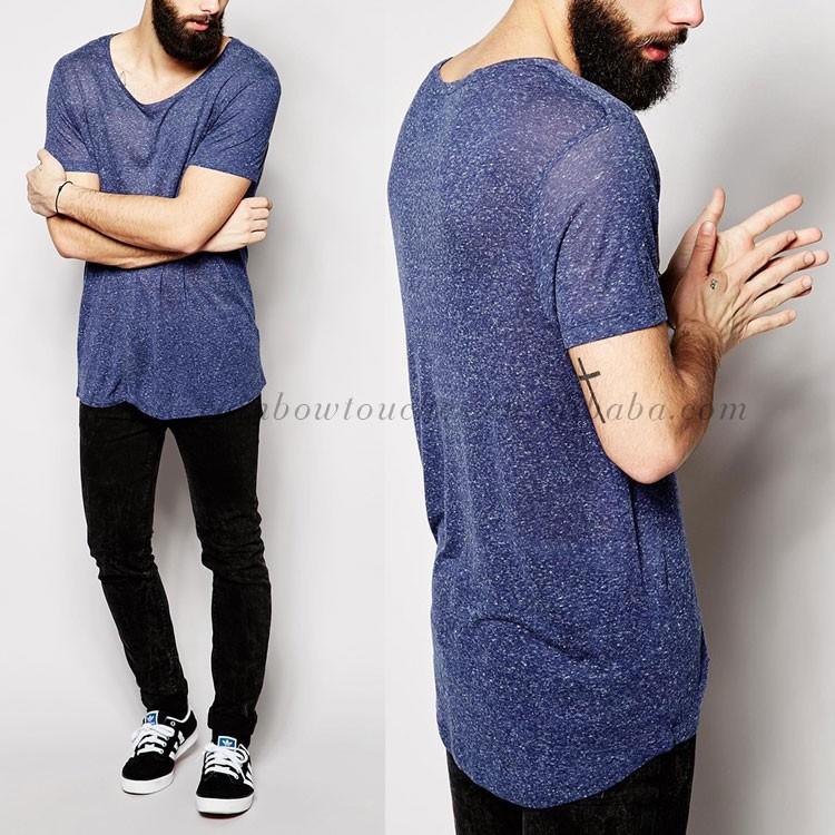 Wholesale New Model Blue Low Neck Longline Custom T Shirt Men ...