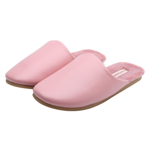 70307 High quality fashion elegant simple color lover home slippers pu slippers thick winter pu leather slippers