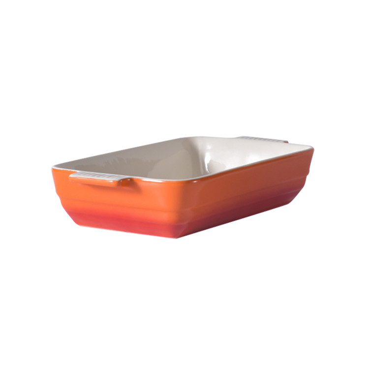 Household used kitchenware oval rectangle non stick bakeware set ceramics bakeware with handle