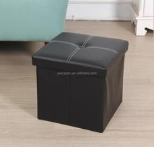 Factory Price faux leather indian ottoman pouf Foldable bedroom kids storage stool
