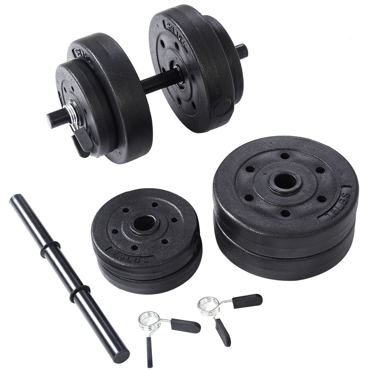 Weight Dumbbell Set 40 LB Adjustable Cap Gym Barbell Plates Body Workout - Perfect For Arms, Chest, Back And Legs - Suitable For Basic Strength Exercises - Included Buckles For Fixing The Plates
