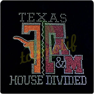 Hotsale Texas Tech/ A&M House Divided Rhinestone Shirt Glitter Transfer Designs