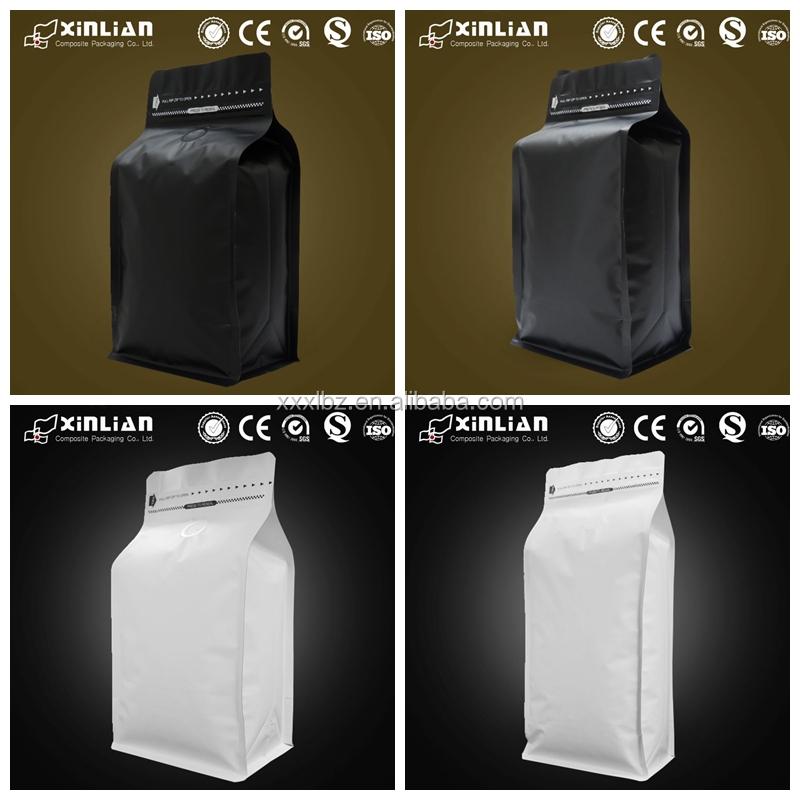 Custom Printing Coffee Bags With Tear Off Zipper Flat Bottom Valve Bag