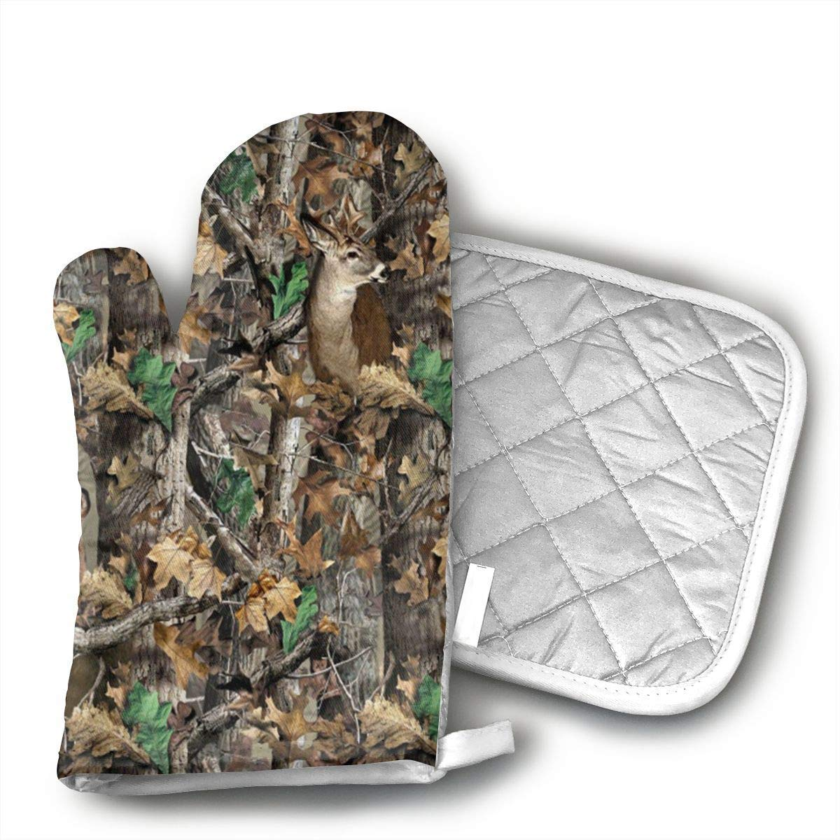 Realtree Camo Wallpapers Oven Mitts Kitchen Gloves and Pot Holders 2pcs for Kitchen Set with Cotton Neoprene Silicone Non-Slip Grip,Heat Resistant,Oven Gloves for BBQ Cooking Baking Grilling