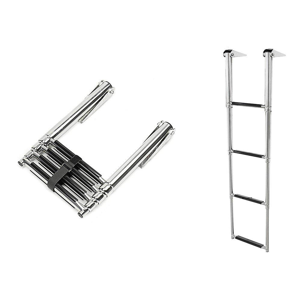 Stainless Steel Telescoping 2 step Boat Ladder w// Handle and Short Curved Tab