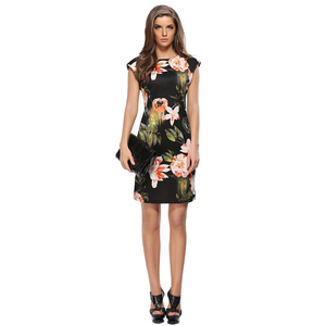 Vintage Floral Print Women Summer Pencil Dres Sleeveless Zipper O Neck Work Party Office Elegant Geometric Patterns Dresses