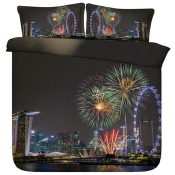 Fireworks in Beautiful Singapore Night Sky 3d Bedding Set