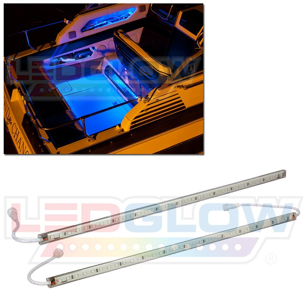 LEDGlow 2pc Blue LED Boat Deck and Cabin Lighting Kit - 72 LEDs - Waterproof Connectors and Light Tubes